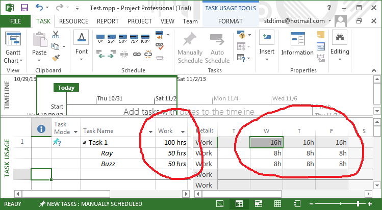 Task Usage View with Work Hours