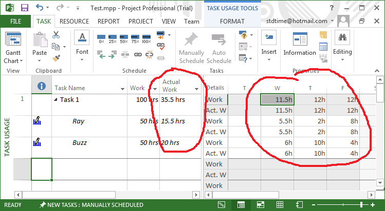 Task Usage view with actual work